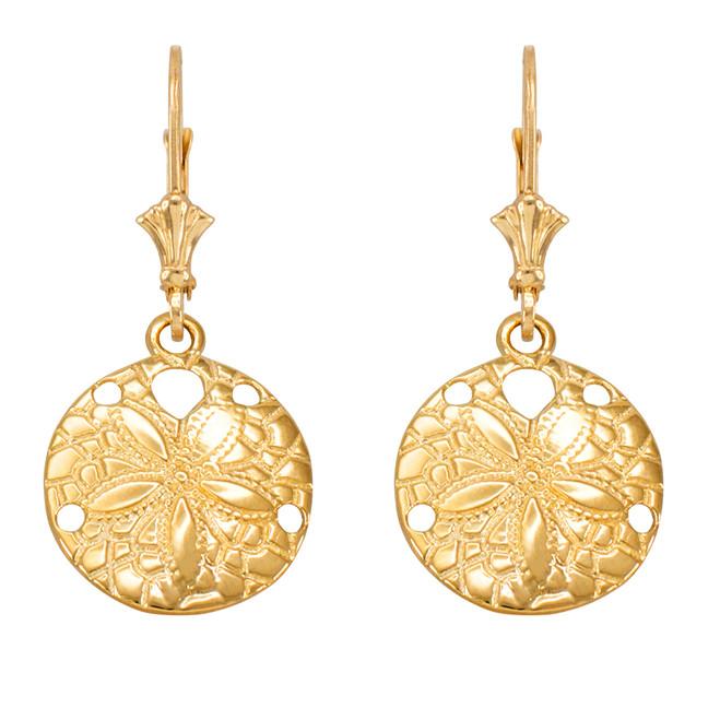 Yellow Gold Sand Dollar Earrings