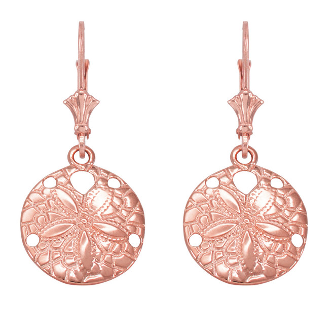 14K Rose Gold Sand Dollar Earrings