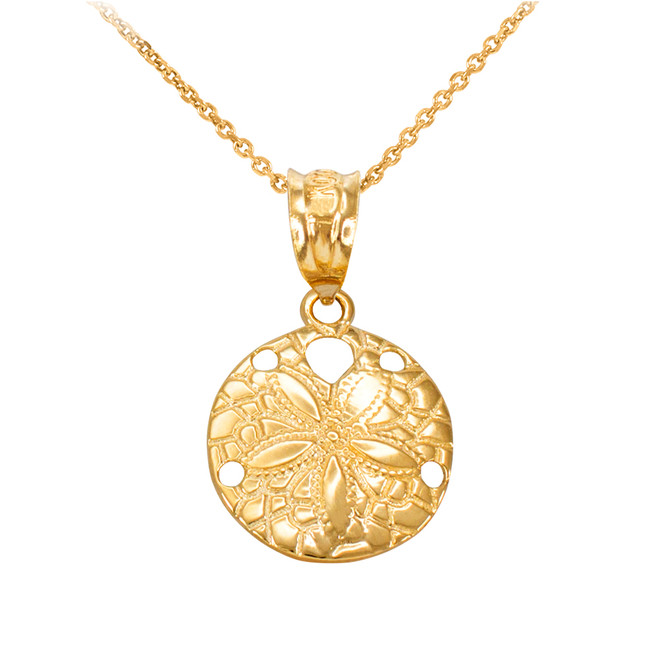 Yellow Gold Round Sand Dollar Pendant Necklace