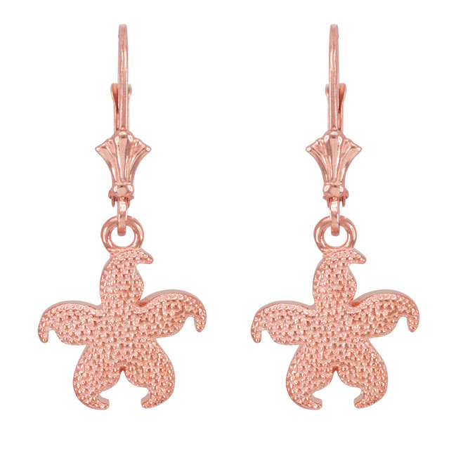 14k Rose Gold Textured Starfish Earrings