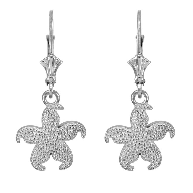 Sterling Silver Textured Starfish Earrings