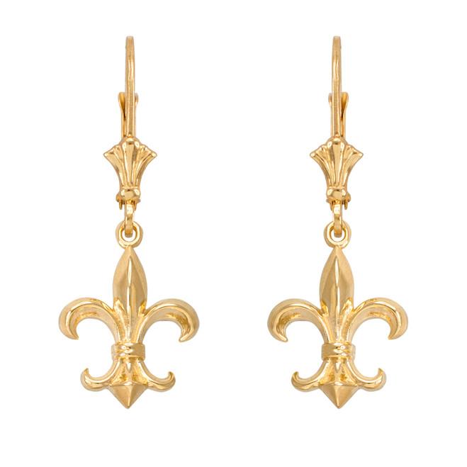 Yellow Gold Fleur-de-Lis Earrings