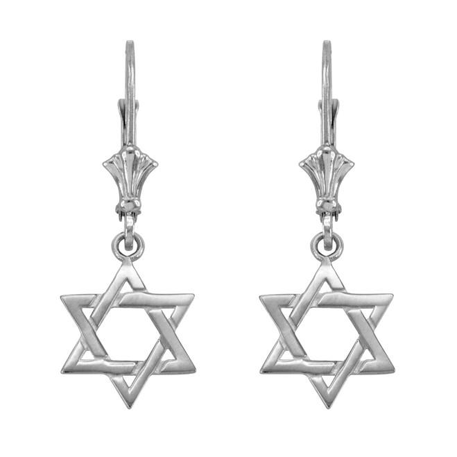 14k White Gold Star of David Earrings