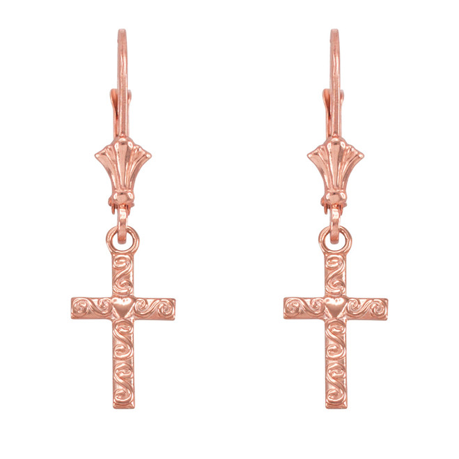 14k Rose Gold Twirl Heart Cross Earrings
