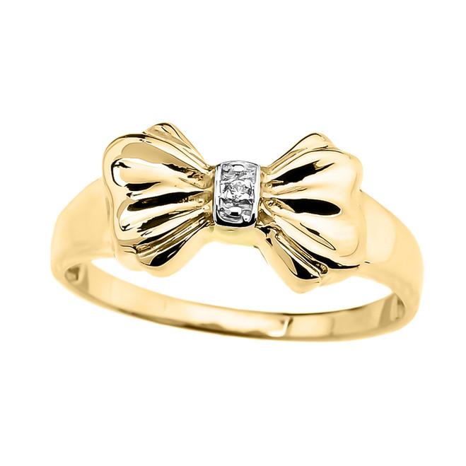 Diamond Ribbon Bow Dainty Ring in Yellow Gold