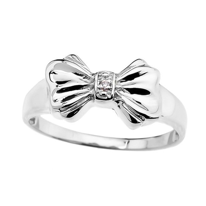 Diamond Ribbon Bow Dainty Ring in White Gold
