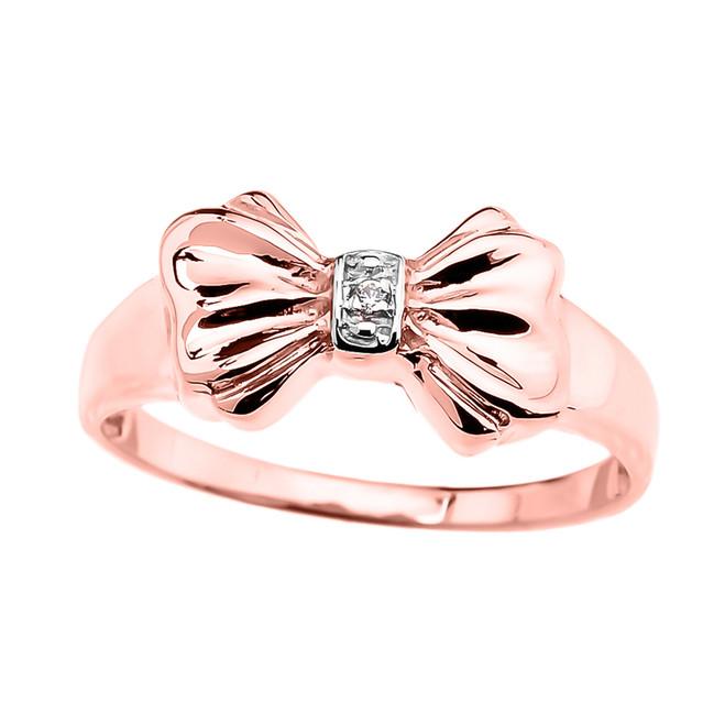 Diamond Ribbon Bow Dainty Ring in Rose Gold