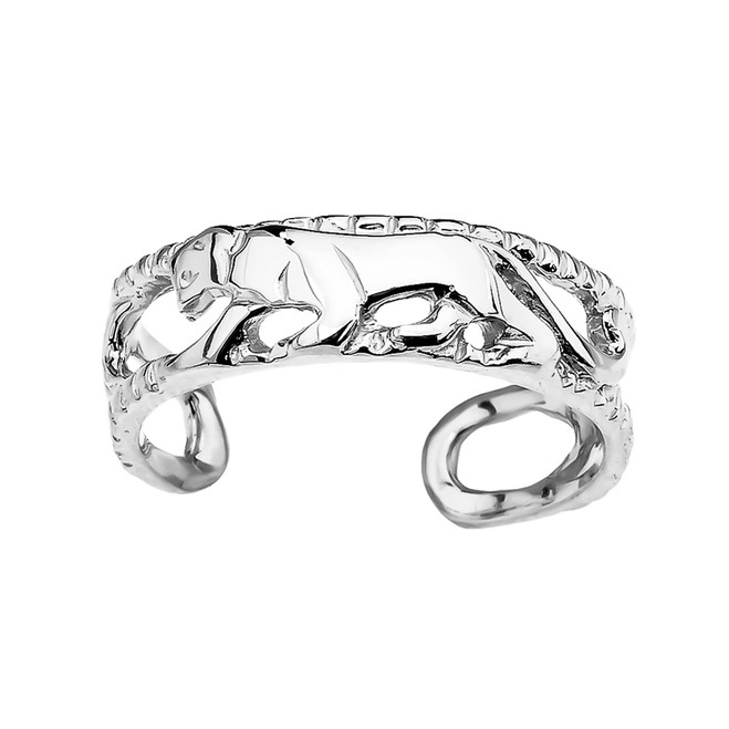 White Gold Open Design Panther Toe Ring