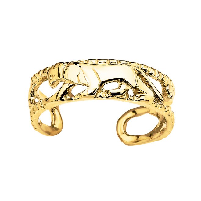 Yellow Gold Open Design Panther Toe Ring