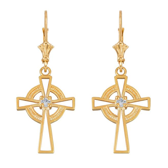 14k Yellow Gold Irish Celtic Cross Earrings