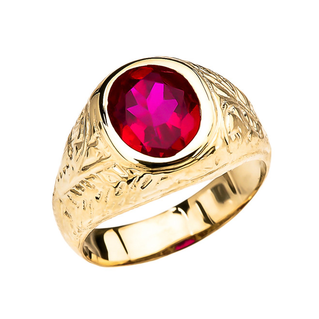 Men's Yellow Gold Engraved Design Red CZ Solitaire Ring