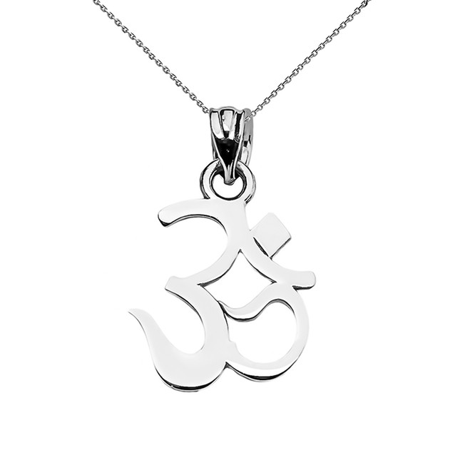 OHM (OM) Ganesh Pendant Necklace in White Gold