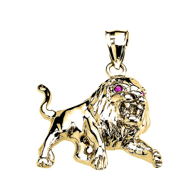 Yellow Gold Red Cz Roaring Full Body Lion Pendant