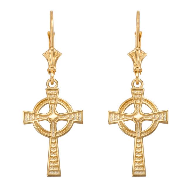 Yellow Gold Celtic Cross Earrings