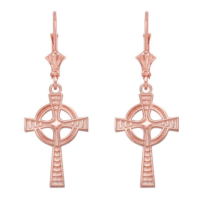 14k Rose Gold Celtic Cross Earrings
