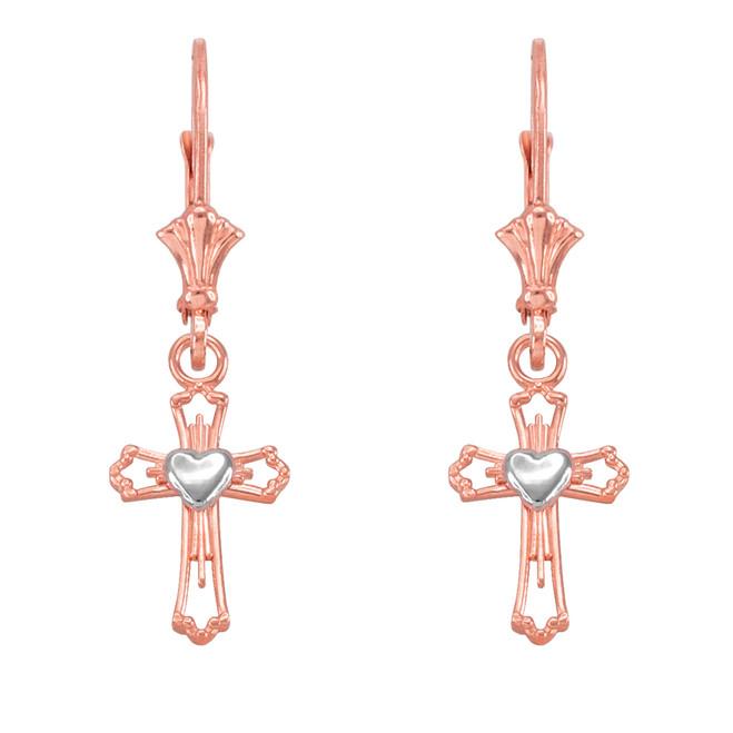 14k Two Tone Rose and Whtie Gold Heart Cross Earrings