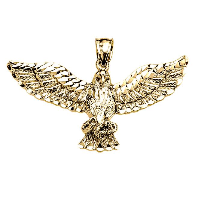 Yellow Gold American Bald Eagle Pendant