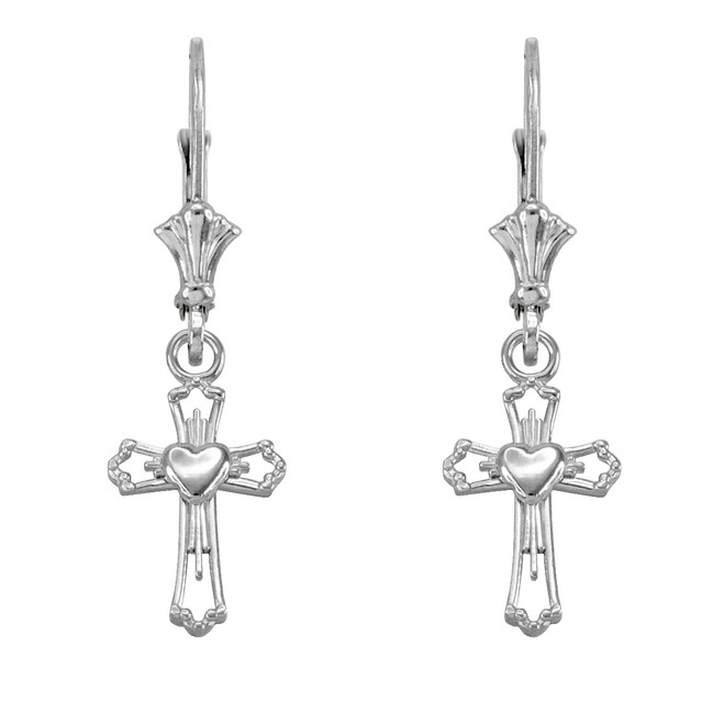 14k White Gold Heart Cross Earrings