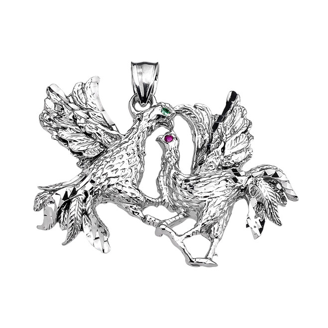 White Gold Fighting Roosters Pendant