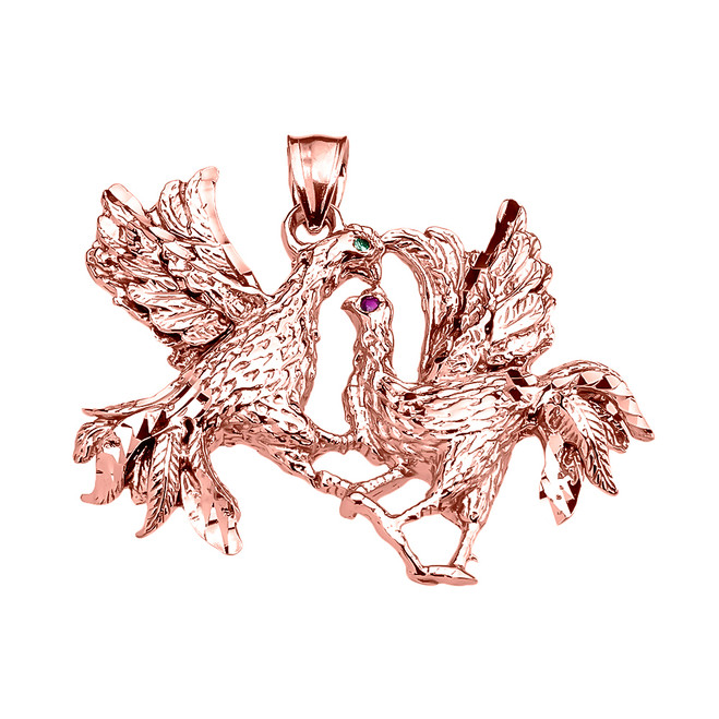 Rose Gold Fighting Roosters Pendant
