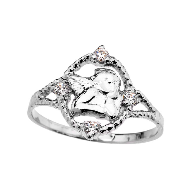 White Gold Rope Design Angel with Cubic Zirconia Ladies Ring