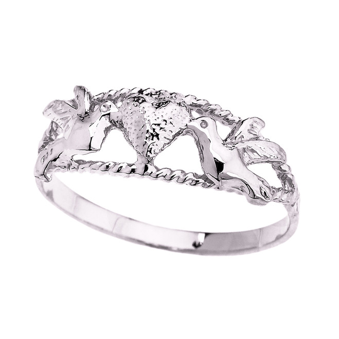 White Gold Rope Design Love Birds Heart Ring