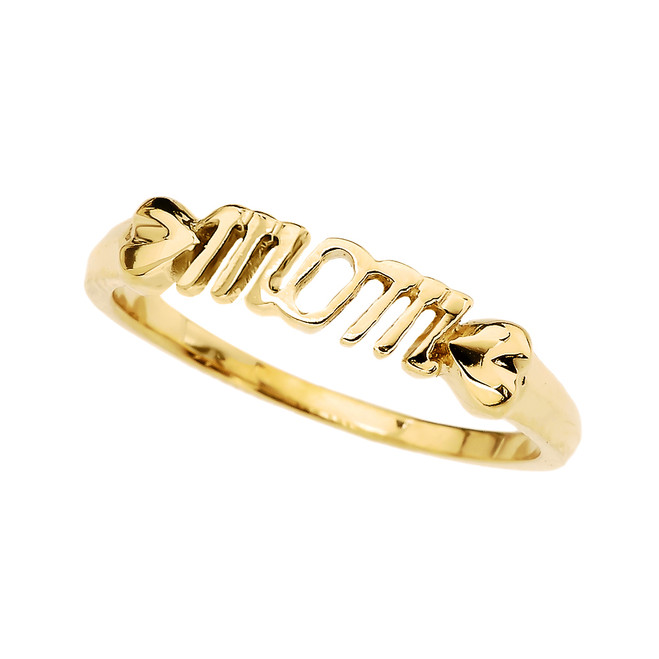 """Gold (Yellow,Rose,White) """"MOM"""" with Hearts Dainty Ring"""
