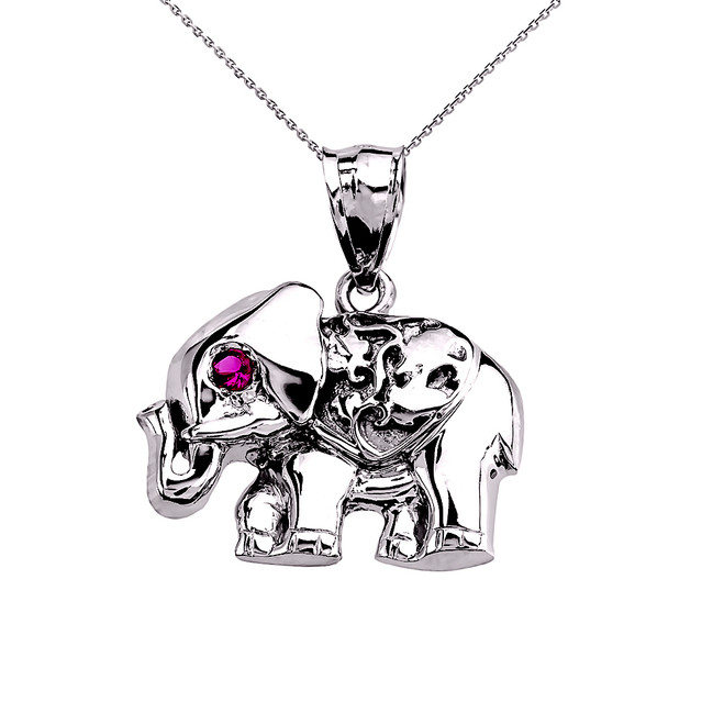 White Gold Red CZ Elephant Pendant Necklace