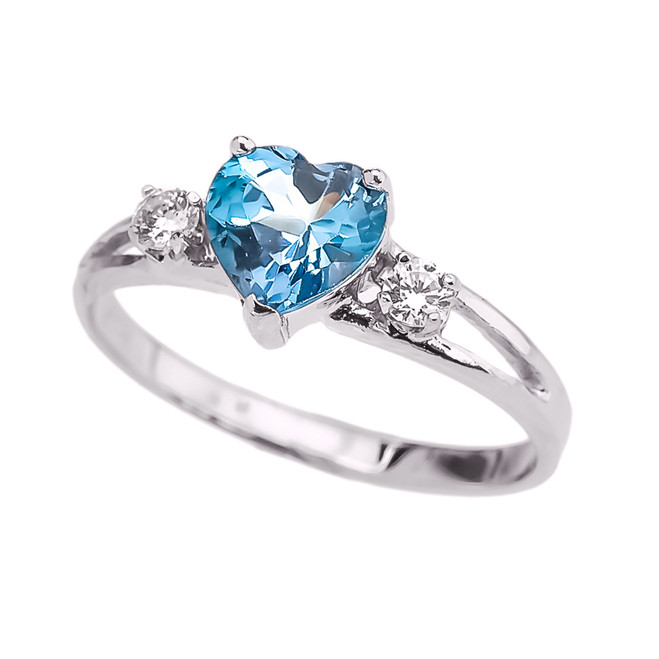 White Gold December Birthstone CZ Heart Proposal/Promise Ring