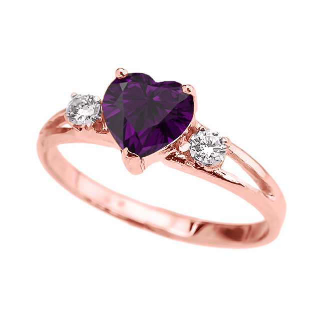 Rose Gold February Birthstone CZ Heart Proposal/Promise Ring