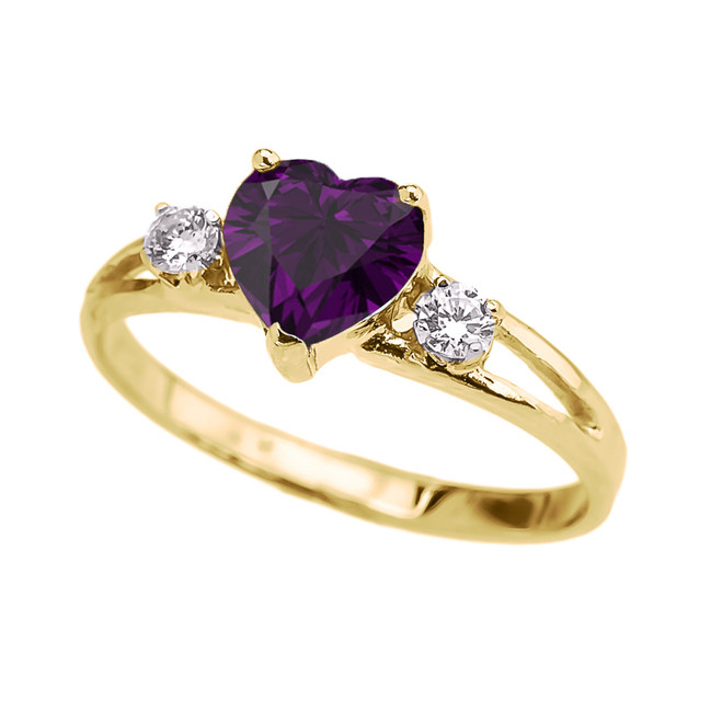 Yellow Gold February Birthstone CZ Heart Proposal/Promise Ring