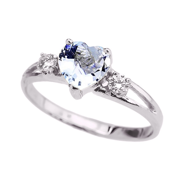 White Gold March Birthstone CZ Heart Proposal/Promise Ring