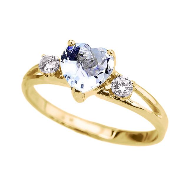 Yellow Gold March Birthstone CZ Heart Proposal/Promise Ring