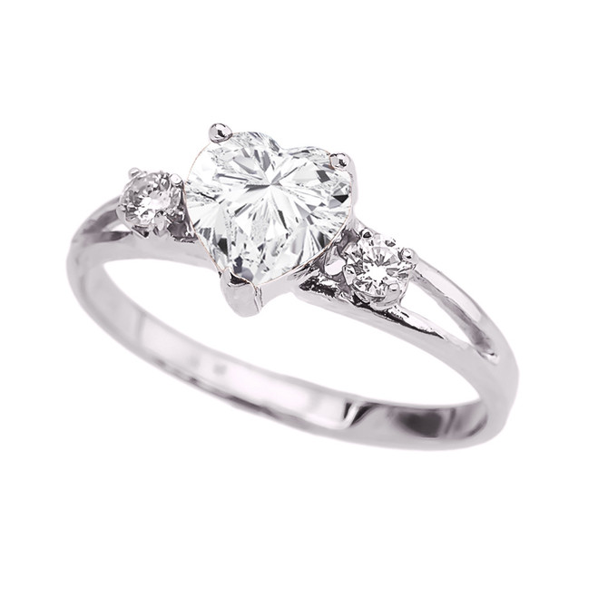 White Gold Cubic Zirconia Heart Proposal/Promise Ring