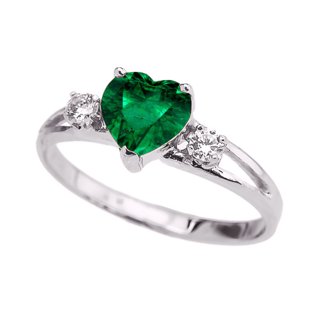 White Gold White Topaz And  (LCE) Emerald Heart Proposal/Promise Ring