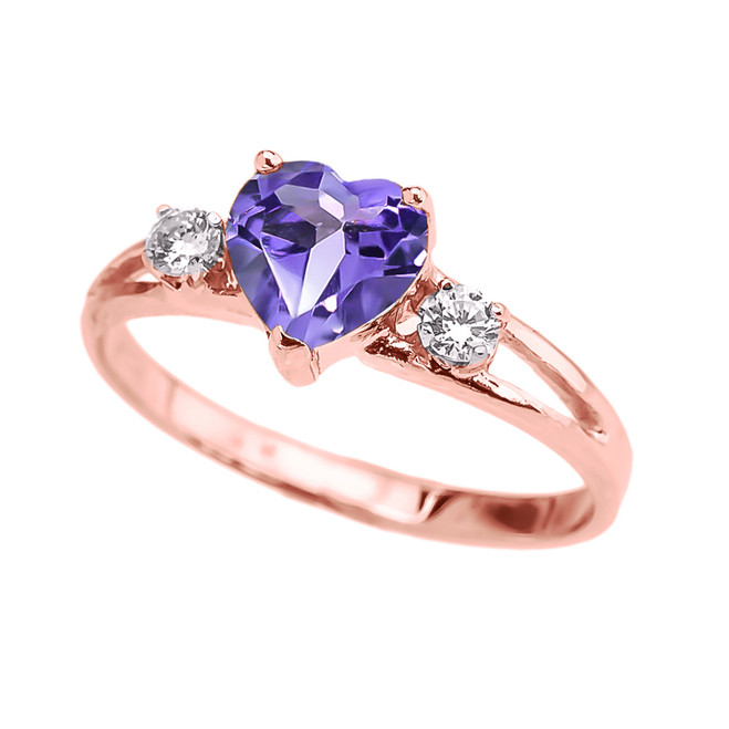 Alexandrite CZ  Heart Proposal/Promise Ring in Rose Gold