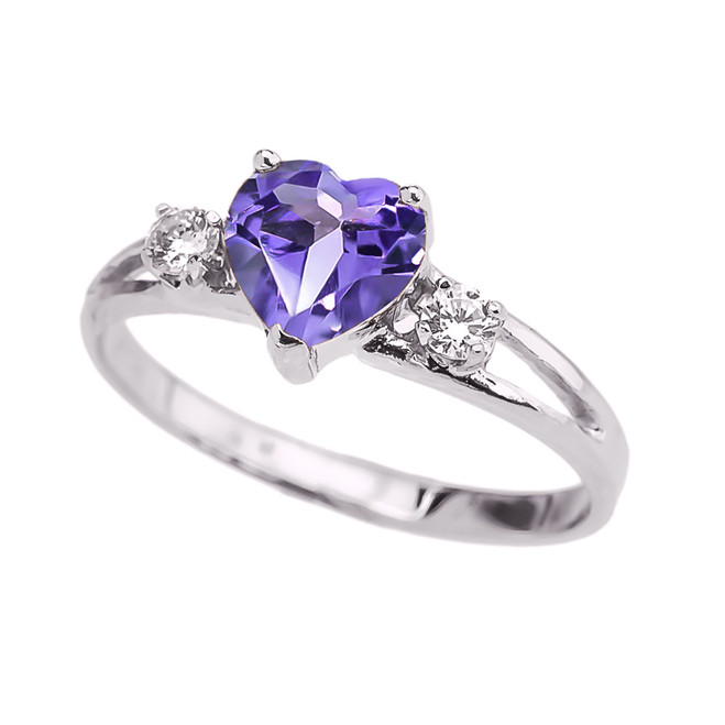 Alexandrite CZ  Heart Proposal/Promise Ring in White Gold