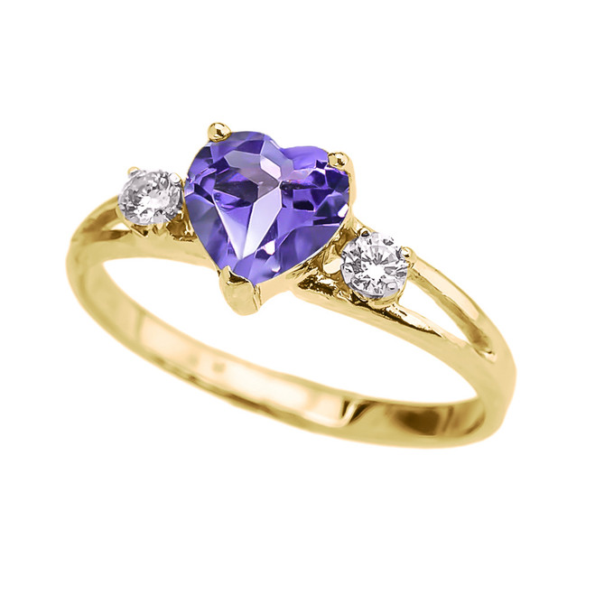 Alexandrite CZ  Heart Proposal/Promise Ring in Yellow Gold