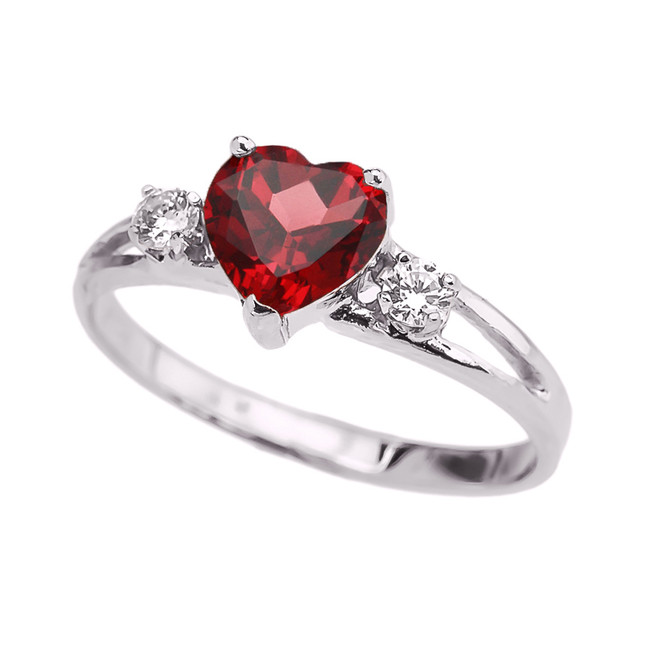 White Gold Heart (LCR) Ruby And White Topaz Proposal/Promise Ring