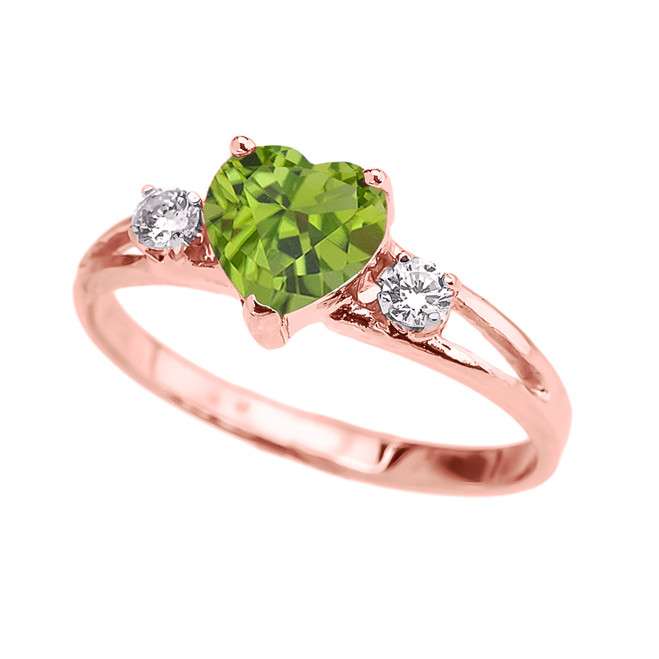 Rose Gold Peridot Heart Proposal/Promise Ring