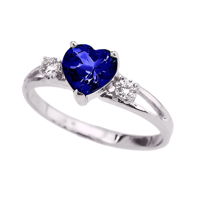 White Gold (LCS) Sapphire Heart Proposal/Promise Ring