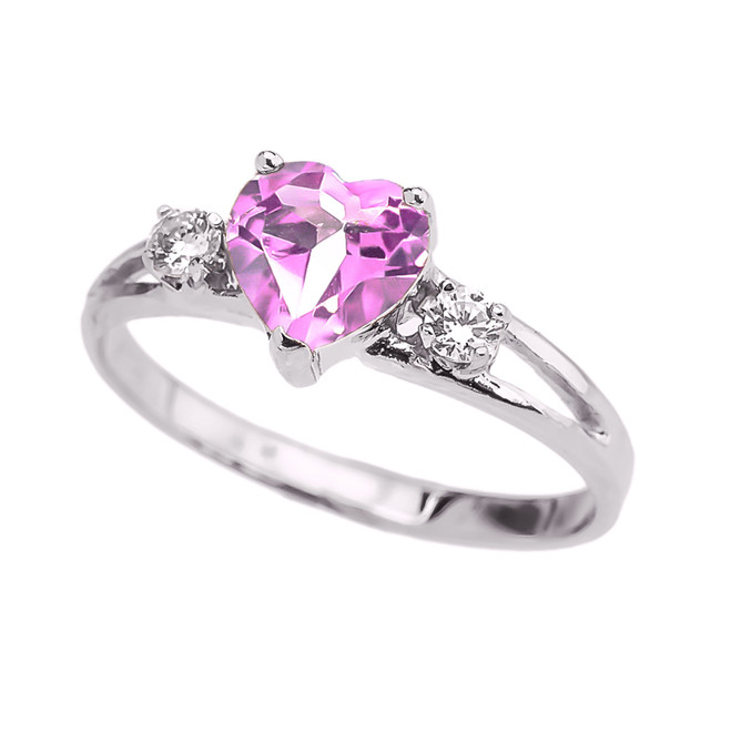 White Gold CZ Pink Heart Proposal/Promise Ring