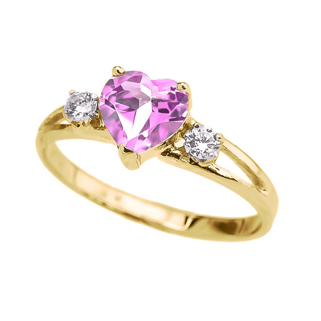 Yellow Gold CZ Pink Heart Proposal/Promise Ring