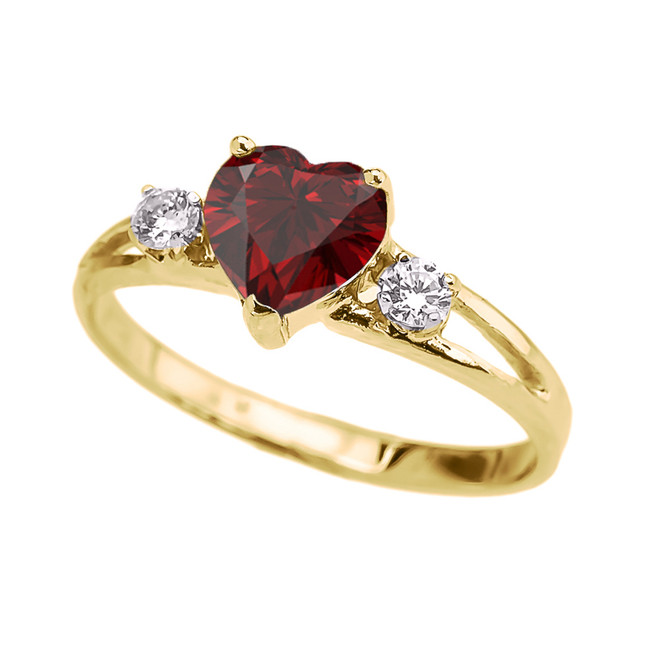 Yellow Gold Garnet Heart Proposal/Promise Ring