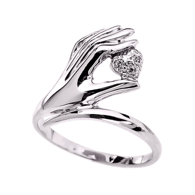 White Gold hand Holding Heart Diamond Ladies Ring