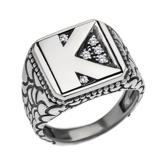 "Sterling Silver CZ Men's Initial ""K"" Nugget Ring"