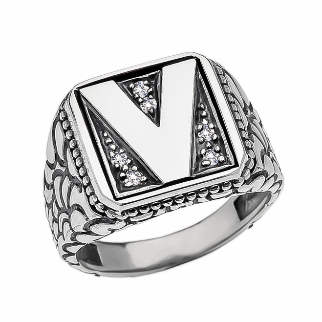 "Sterling Silver CZ Men's Initial ""V"" Nugget Ring"