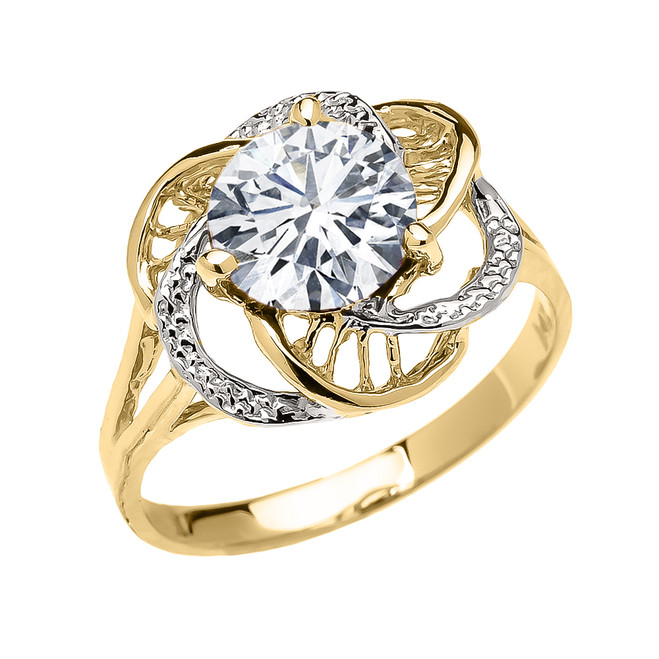 Yellow Gold Cubic Zirconia Solitaire Modern Flower Ladies Ring