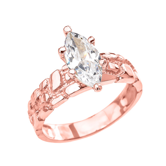 Rose Gold 2.5 Carat Marquise CZ Solitaire Nugget Engagement Ring