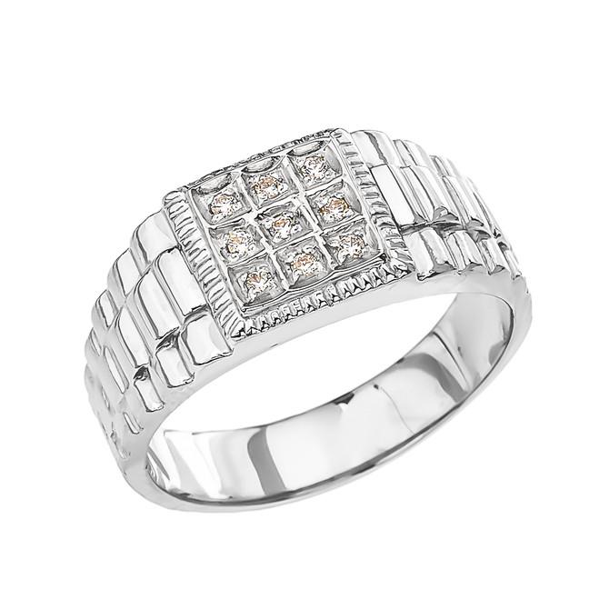 Sterling Silver Diamond Watch Band Design Men's Ring